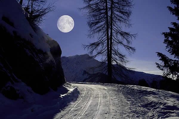Schlitteln bei Mondschein